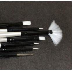 06 - Набор кистей для геля и рисования Lker - 7 шт/уп - белый ворс